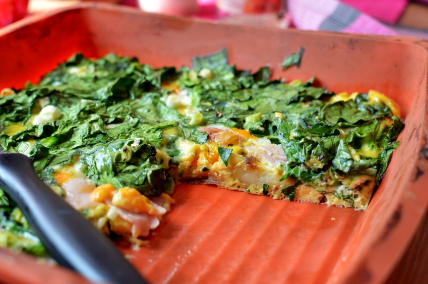 Oven baked spinach frittata